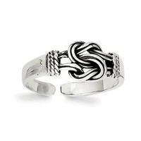 Sterling Silver Antiqued Double Love Knot Toe Ring
