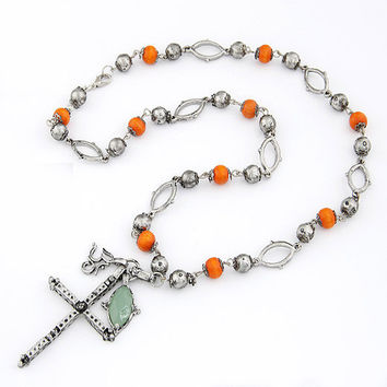 Silvery Retro Cross-shaped Long Pendant Necklace with Beads, Street-style Accessory, Party Jewelry, Yong Guys' Favorite Jewelry 11051148-642