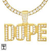"""Jewelry Kay style Men's Iced DOPE Sign Gold Plated Pendant 24"""" Tennis Chain Necklace THC 1904 G"""