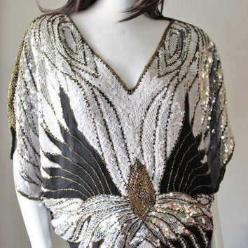 Butterfly top // vintage // Silk // Black White Silver Gold sequin top // Embellished Beaded Top // Authentic Disco blouse. Size S/M