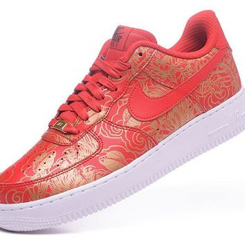 Nike Air Force 1 Low Premium Lunar New Year iD Red For Women Men Running Sport Casual Shoes Sneakers