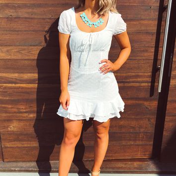Birds Chirping Dress: White