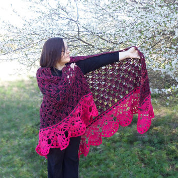Crochet Shawl, Handmade Triangle Shawl, Pink and Black