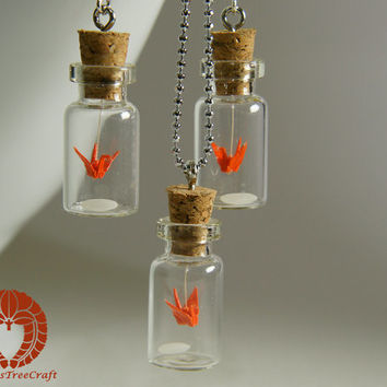 Micro Origami Mobile in a Bottle Pendant and Earrings Set - Orange Crane and a Grain of Rice