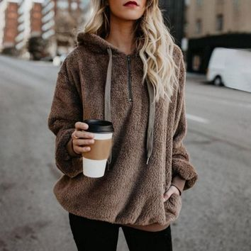 2018 Winter Boho Casual Office Lady Plus Size Women Sweatshirts Loose Hooded Zipper Plain Female High Street Fashion Hoodies