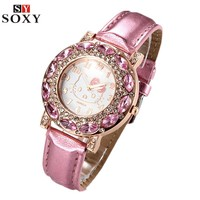 Hello Kitty Girls Luxury Rhinestone Quarts Watch with Leather Strap