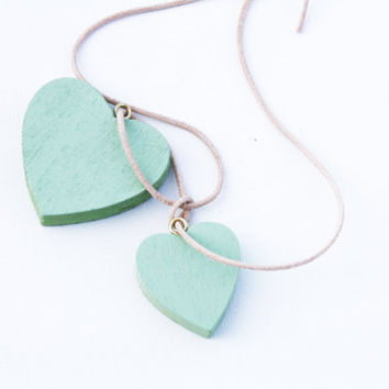 I (HEART) YOU - wooden heart pendants on leather cord, mint, sage, light green necklace
