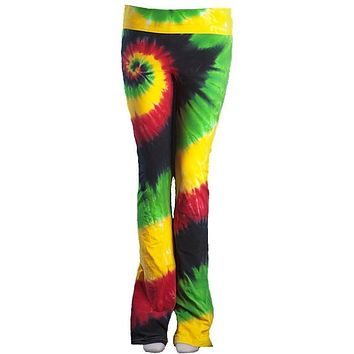 Womens Tie Dye Yoga Pants - Rasta Colors