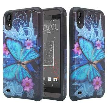 HTC Desire 555 Case, Desire 555 Slim Hybrid Dual Layer[Shock Resistant] Case for Desire 555 - Blue Butterfly