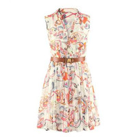 Multi Color Printed V-Neck Chiffon Dress Without Belt