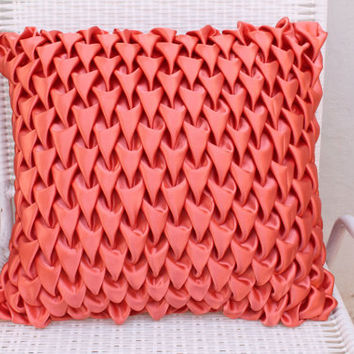 Decorative Satin Pillow Cover in Peach Canadian Smocking Throw Pillow Accent Pillows Sofa Pillow Cover Cushion Cover Toss Pillows Home Décor