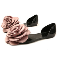 summer Jelly shoes women sandals rose flower flats slip on sandalia feminina transparent plastic crystal beach shoes