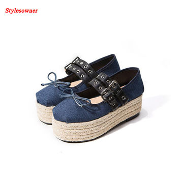 Stylesowner Chic Muffin High Heel Ballet Shoe Belt Buckle Lace Up Bandage Leather Shoes Platform Loafers 2017 New