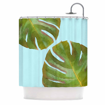 "Oriana Cordero  ""Tropico V2"" Aqua Green Shower Curtain"