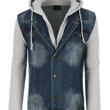 LE3NO Mens Classic Long Sleeve Denim Jean Jacket with Hood