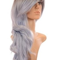 Glacier Blue Kesha Inspired Long Wavy Rooted Pastel Wig