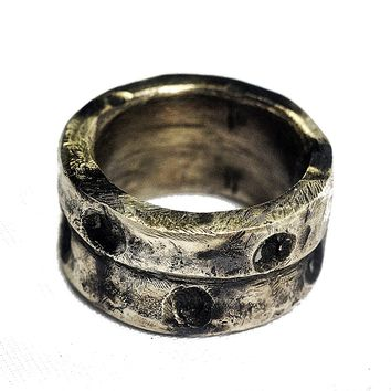 Chunky Silver Ring Unisex, 3mm Thick, Deep Grooves,  Pitted Texture, Silver Wedding Band, Men's Engagement Ring, Blackened Silver Finish