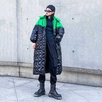 Akiyo Fringe Puffer Coat - Green Black