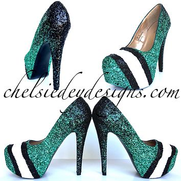 Eagles Glitter High Heels, Green Black Ombre Striped Platform Pumps
