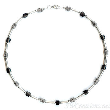 Onyx Gemstone Silver Men's Beaded Necklace 2
