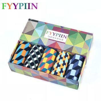 Socks Men Casual Sokken Socks Real Time-limited 2018 Men's Gift Box Colorful Fashion Plaid Business Combed Cotton Novel 5 Pairs