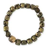 Sydney Evan 8mm Cubed Pyrite Beaded Bracelet w/ 14k Diamond Buddha Bead