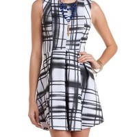 Black/White Sleeveless Plaid Skater Dress by Charlotte Russe