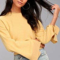 Project Social T Louis Golden Yellow Cropped Sweatshirt