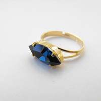 Midnight blue stone ring, gold ring, marquise cut Cocktail ring