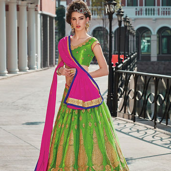 Women's Net Fabric & Parrot Green Pretty Circular Lehenga Style With Crystals Stones Work Dupatta