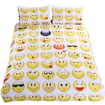 BeddingOutlet Emoji Bedding Set Cute and Fashion Duvet Cover for Young Printed Bedlinen 3Pcs Twin Full Queen King Bedspreads