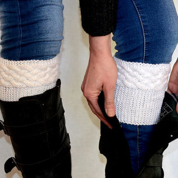 Double Cable Boot Cuffs Winter Boot Toppers White Knit Boot Socks Wool Acrylic Leg Warmers Cables Braided Colors Boot Cuffs - BC0004