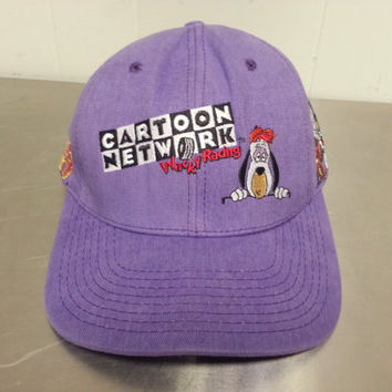 Vintage 1990's Cartoon Network Snapback Hat Wacky Racing Tom and Jerry Droopy The Dog Made In USA Promotional Hat Advertising Hat