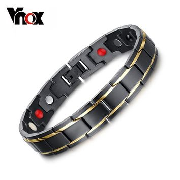 Vnox DIY Adjustable Black Men's Stainless Steel Long Bracelets & Bangles Magnetic Health Care Jewelry