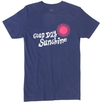 Good Day Sunshine navy graphic tee with puffy ink.