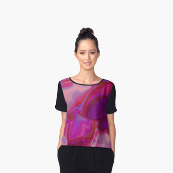 'Dreamscape in purple' Women's Chiffon Top by Bamalam Art and Photography