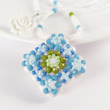 Beadwork Necklace, White, Blue, Green Beaded Necklace, Flower Summer Beaded Pendant in Light Blue and Olivine Green, Handmade Beaded Jewelry