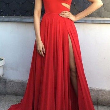 One Shoulder A-Line Red Prom Dresses