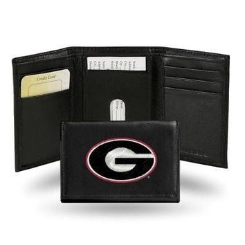 Georgia Bulldogs Embroidered Leather Trifold Wallet