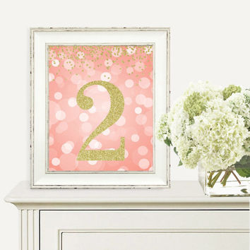 Birthday Print, 2nd Birthday Party Sign, Number 2, 2nd Birthday Party, Second Birthday, Coral & Gold Glitter, Printable Party Decorations