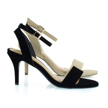 Harleen55 Black By Bamboo, Classic High Heel Sandal w Ankle Wrap Straps and Single Band