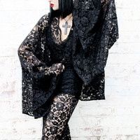 ADELE PSYCH 'Diviner' Glam Goth Rock Style Sheer Black Lace Top with huge Bell 'Witch-like' Sleeves