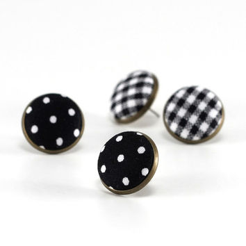 Stud Earrings Black And White Polka Dots Earring Studs Clic Fabric Ons Jewelry Elegant Posts