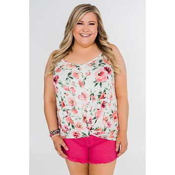 Flirty & Thriving Floral Tank Top- Ivory