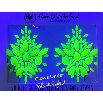 Neon Yellow Black Light Reflective Self-Adhesive Jewel Pasties