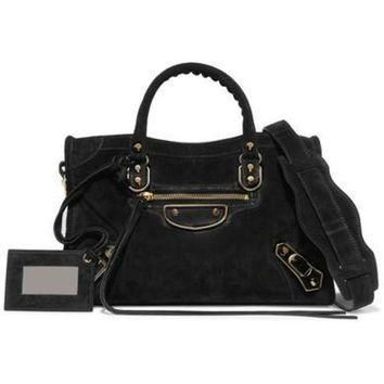 ONETOW balenciaga metallic edge city small suede tote 2