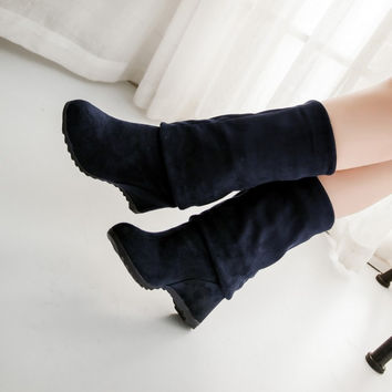 Artificial Suede Over the Knee Boots Wedges Shoes Woman 3341