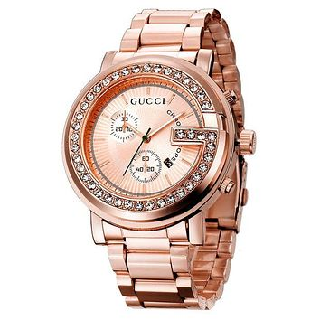 Gucci Fashion Women Men Watch Dial Edge Diamond Quartz Watches Wrist Watch Rose Gold I
