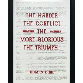 """Thomas Paine Harder the Conflict Greater the Triumph Quote Art Print Red - 13x19"""""""