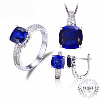 .925 Solid Silver Sapphire & Cubic Zirconia Ring Pendant Necklace & Earrings Set